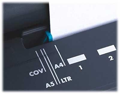 Réglage du type de feuille sur la perforatrice Fellowes Galaxy 500